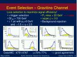 event selection gravitino channel