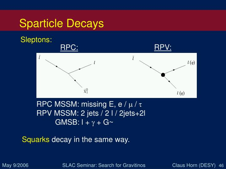 Sparticle Decays
