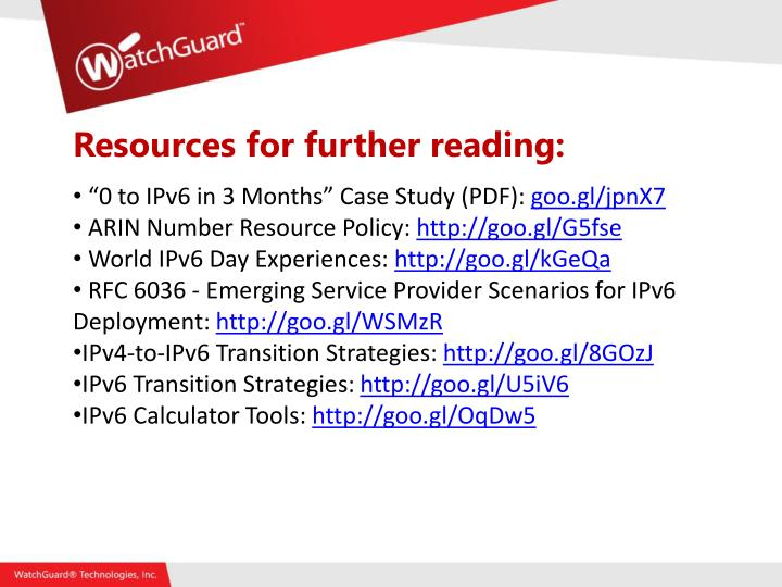 Resources for further reading: