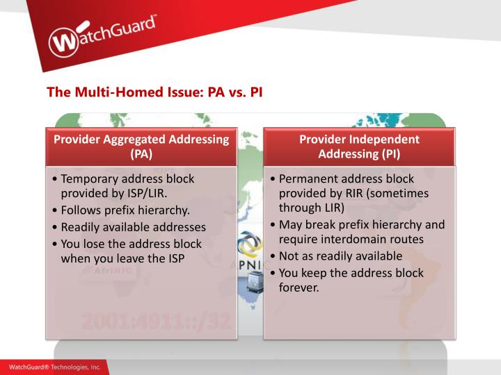 The Multi-Homed Issue: PA vs. PI