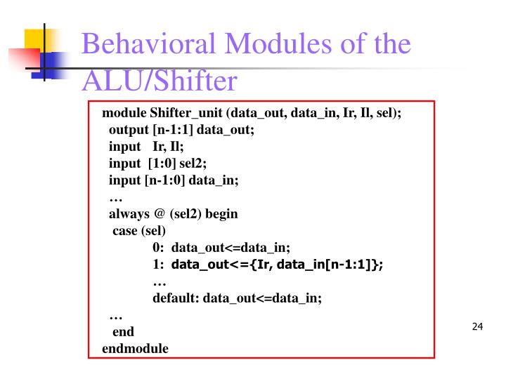 Behavioral Modules of the ALU/Shifter