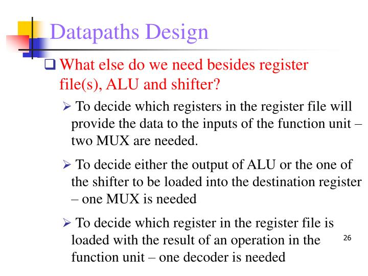 Datapaths Design