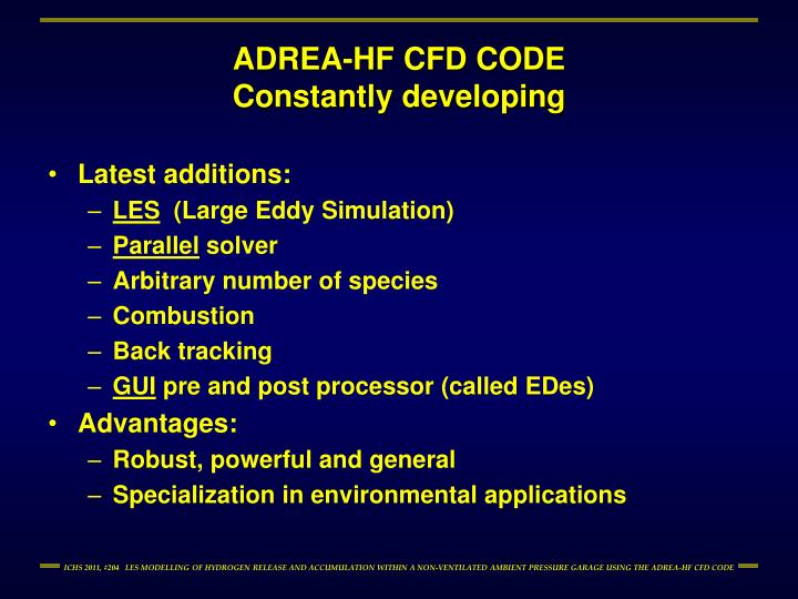 Adrea hf cfd code constantly developing