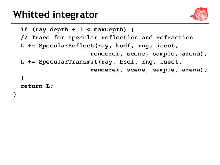Whitted integrator
