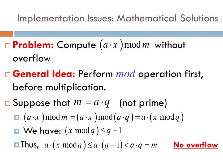 Implementation Issues: Mathematical Solutions