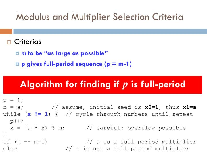 Modulus and Multiplier Selection Criteria