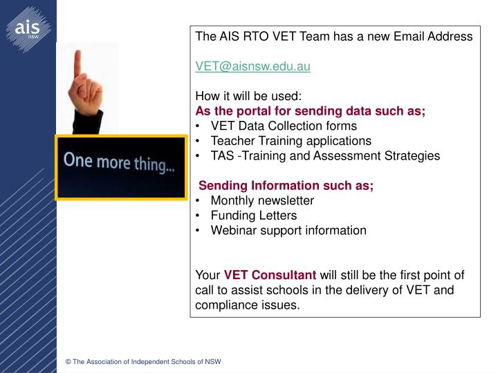 The AIS RTO VET Team has a new Email Address