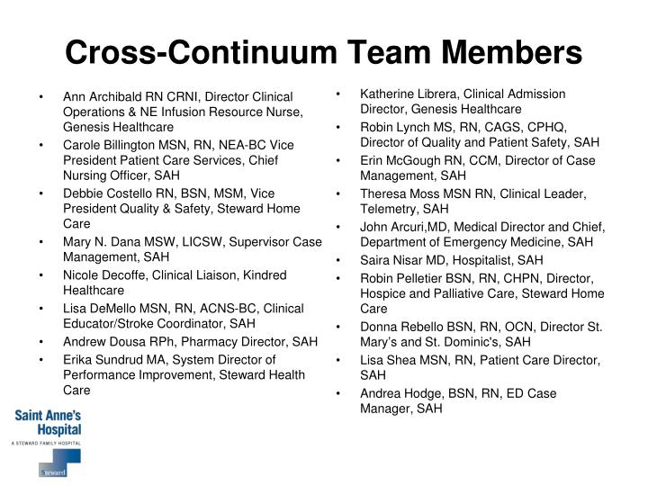 Cross-Continuum Team Members
