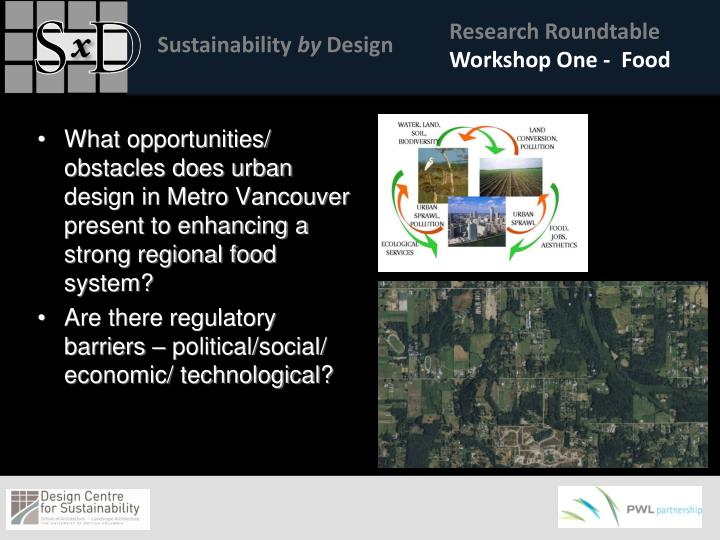 What opportunities/ obstacles does urban design in Metro Vancouver present to enhancing a strong regional food system?