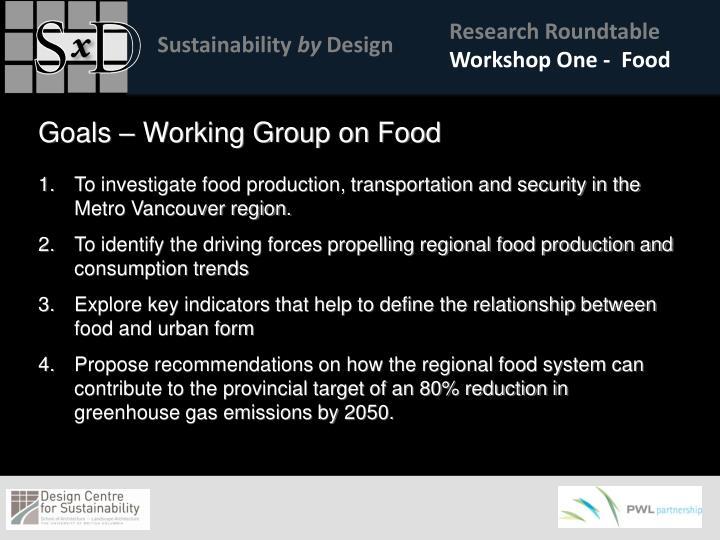 Workshop One -  Food