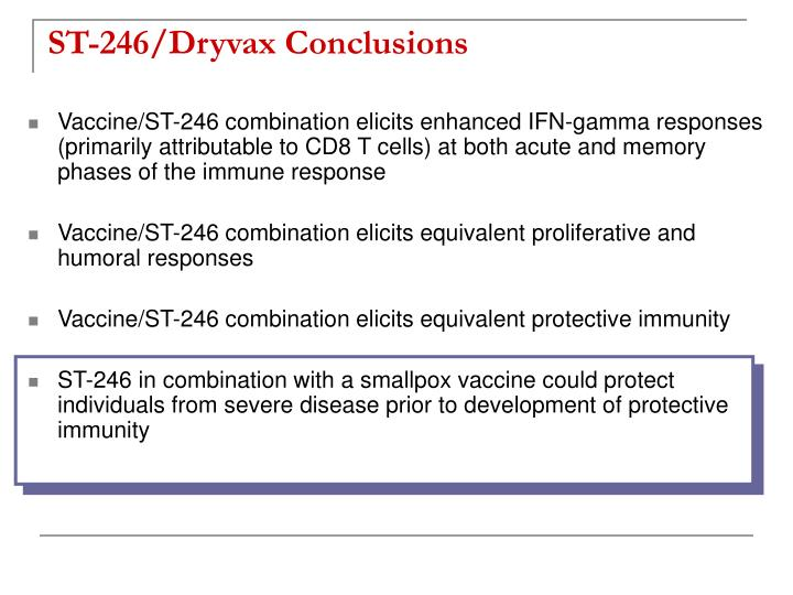 ST-246/Dryvax Conclusions