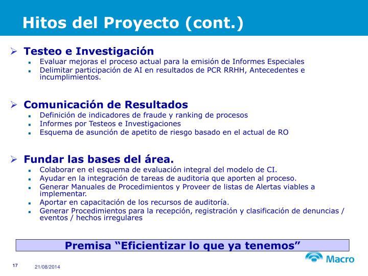 Hitos del Proyecto (cont.)