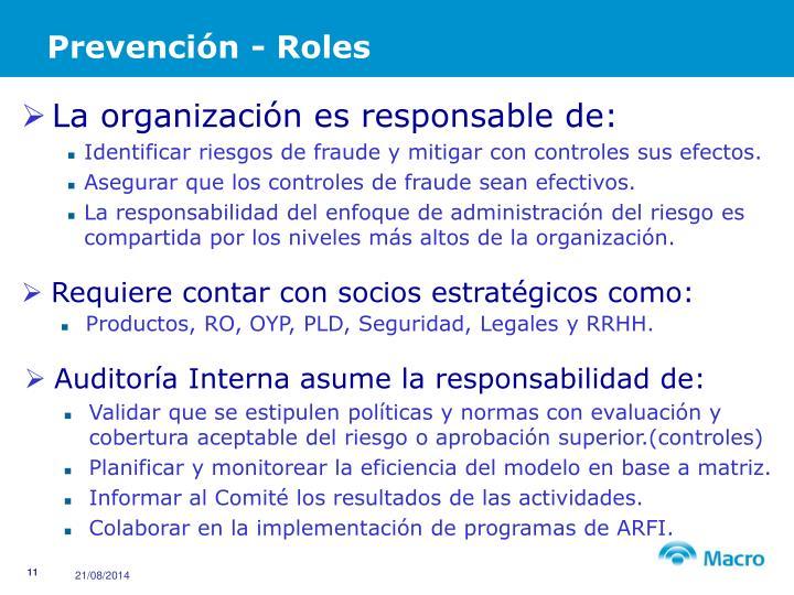 Prevención - Roles