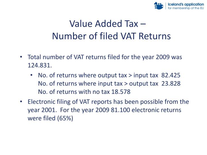 Value Added Tax –