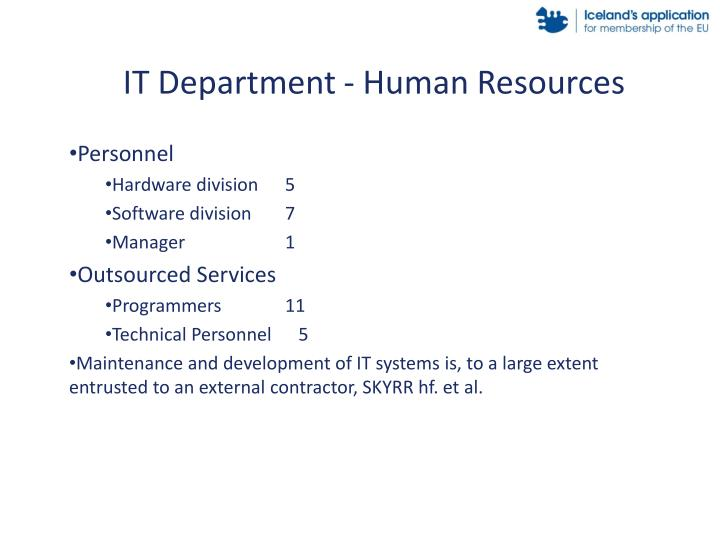 IT Department - Human Resources