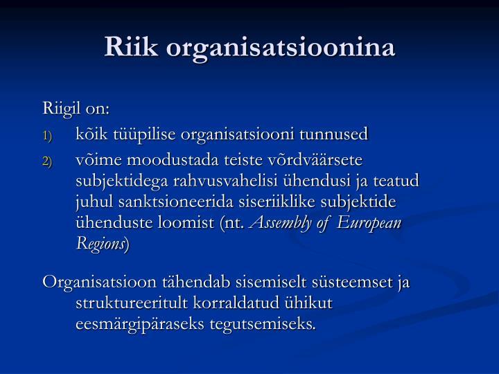 Riik organisatsioonina