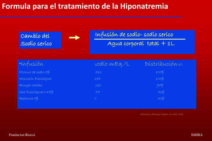 Formula para el tratamiento de la Hiponatremia