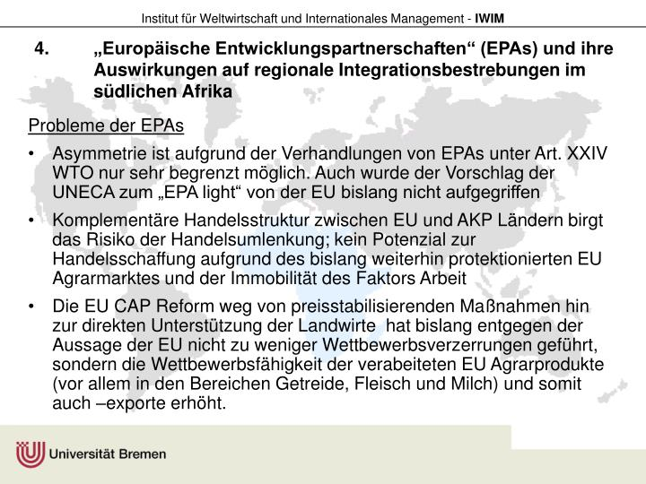 """""""Europäische Entwicklungspartnerschaften"""" (EPAs) und ihre Auswirkungen auf regionale Integrationsbestrebungen im südlichen Afrika"""