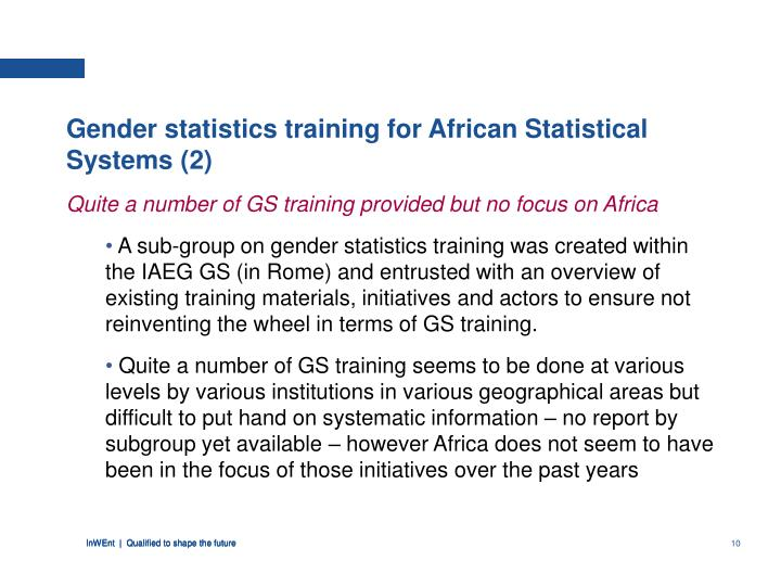Gender statistics training for African Statistical Systems (2)
