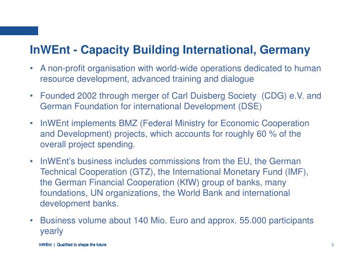 InWEnt - Capacity Building International, Germany