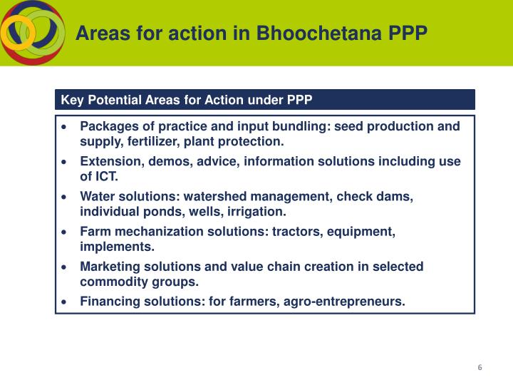 Areas for action in Bhoochetana PPP
