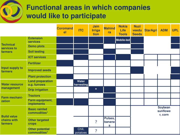 Functional areas in which companies would like to participate