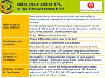 major value add of upl to the bhoochetana ppp