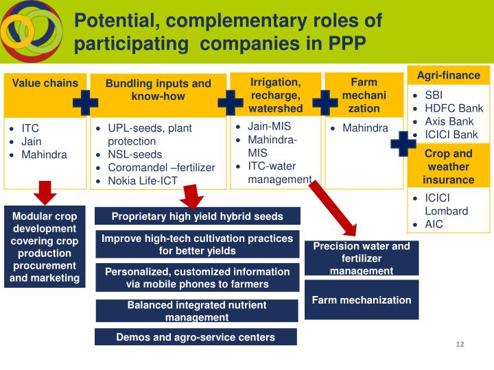 Potential, complementary roles of participating  companies in PPP