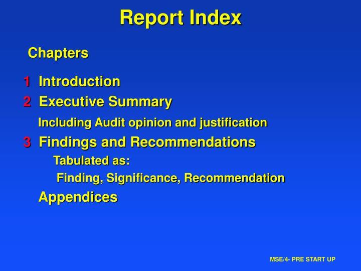Report Index