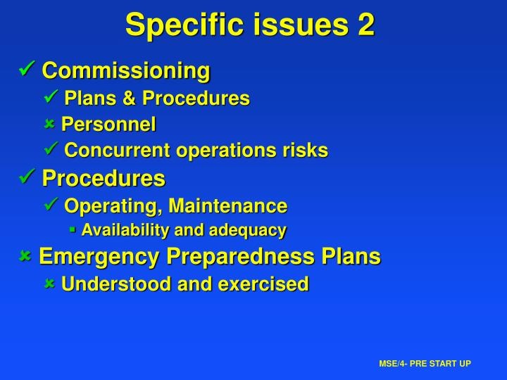 Specific issues 2