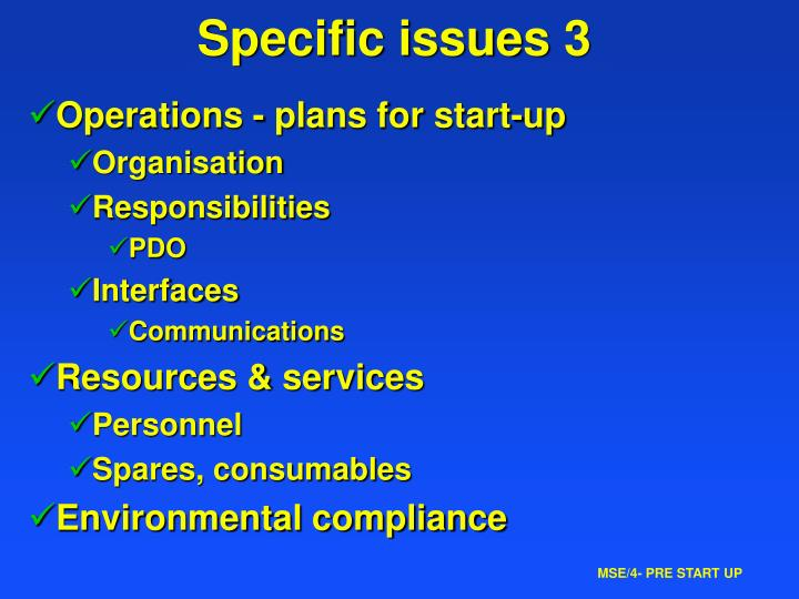 Specific issues 3