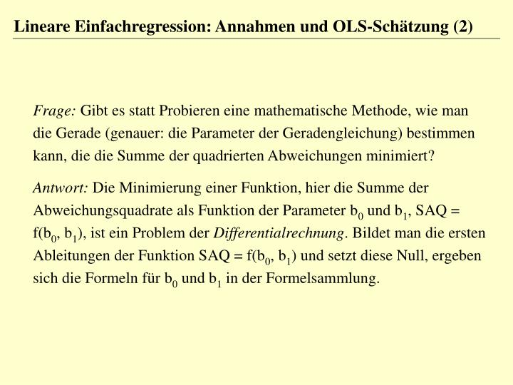 Lineare Einfachregression: Annahmen und OLS-Schätzung (2)