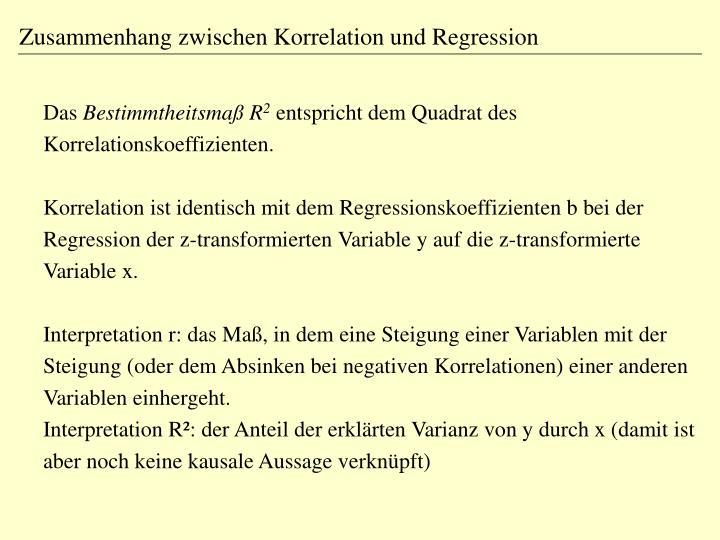 Zusammenhang zwischen Korrelation und Regression