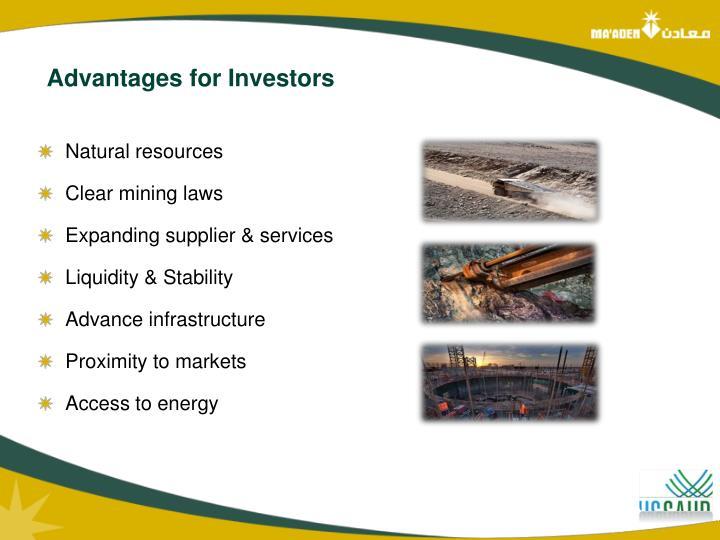 Advantages for Investors