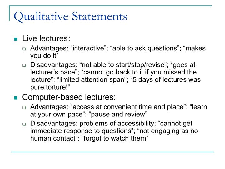 Qualitative Statements