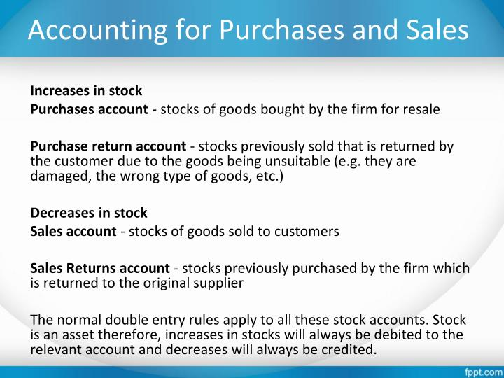 Accounting for Purchases and Sales