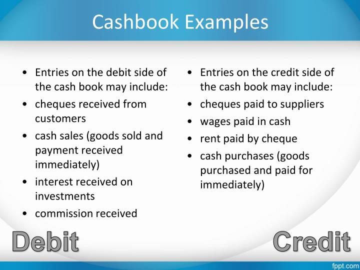Cashbook Examples