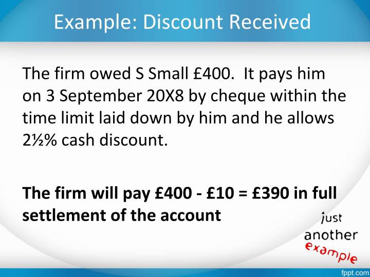 Example: Discount Received