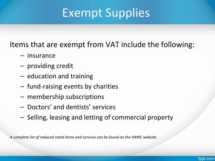 Exempt Supplies