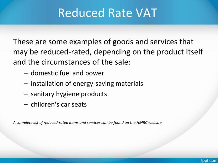 Reduced Rate VAT