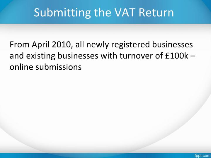 Submitting the VAT Return