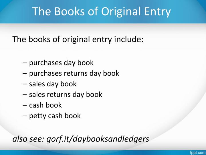 The Books of Original Entry