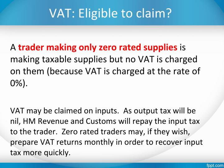 VAT: Eligible to claim?