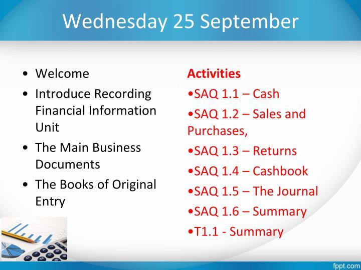 Wednesday 25 September