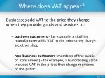 where does vat appear