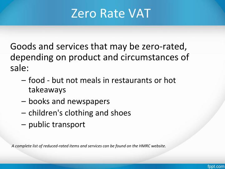Zero Rate VAT
