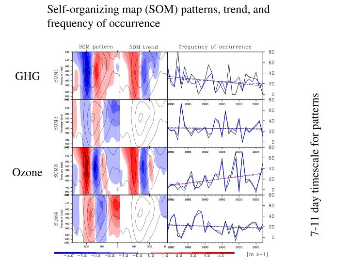 Self-organizing map (SOM) patterns, trend, and                   frequency of occurrence