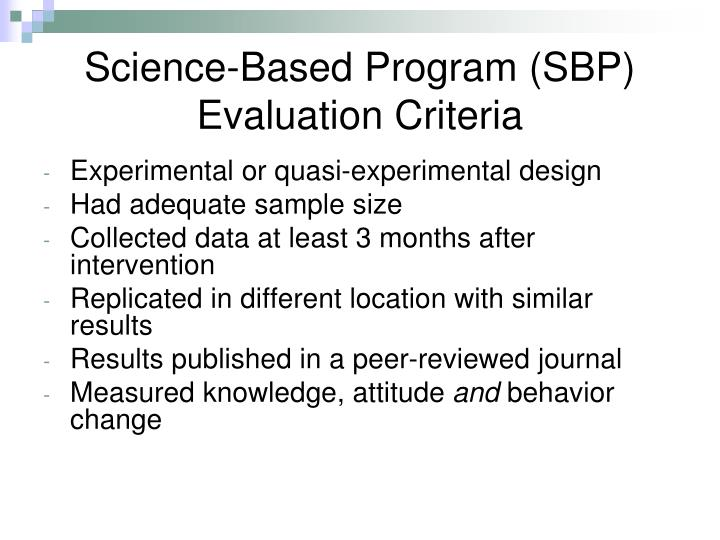 Science-Based Program (SBP) Evaluation Criteria