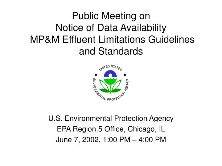 Public meeting on notice of data availability mp m effluent limitations guidelines and standards