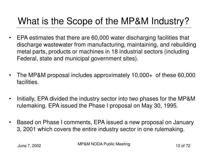 What is the Scope of the MP&M Industry?